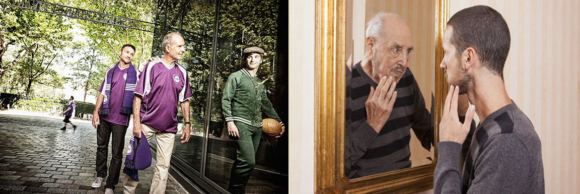 left side of image: Older man looks at reflection of younger self in window. Image on right: younger man look at reflection of older self in mirror