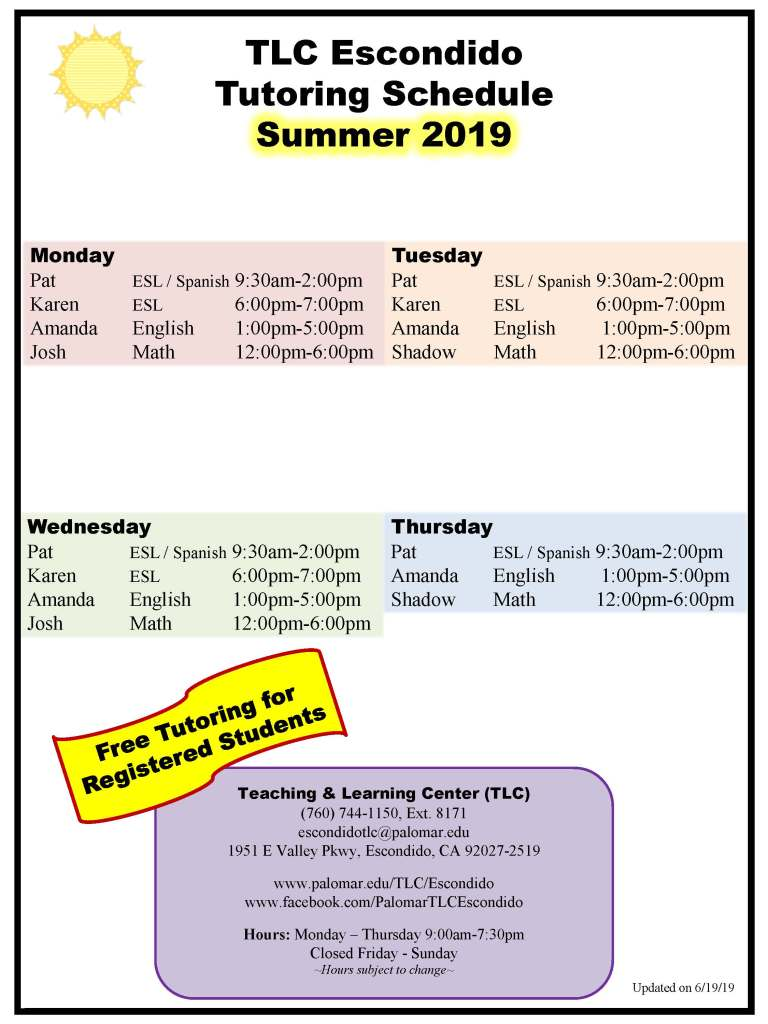 Picture of Summer 2019 Tutoring Schedule-updated 6-19-2019