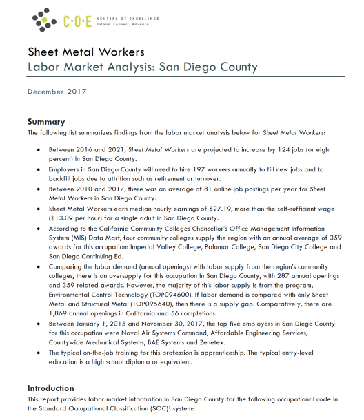 Occupational report for sheet metal workers