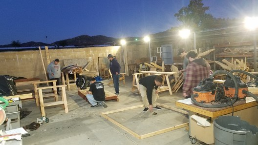 Palomar College Pre-Apprenticeship students at San Marcos Adult School working on the walls for a garden shed.