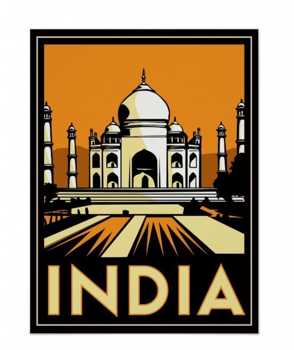 taj mahal india art deco retro travel vintage poster