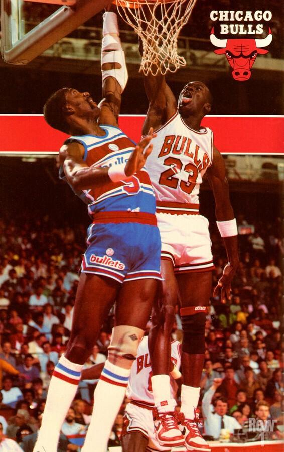 1985 michael jordan dunk chicago bulls poster