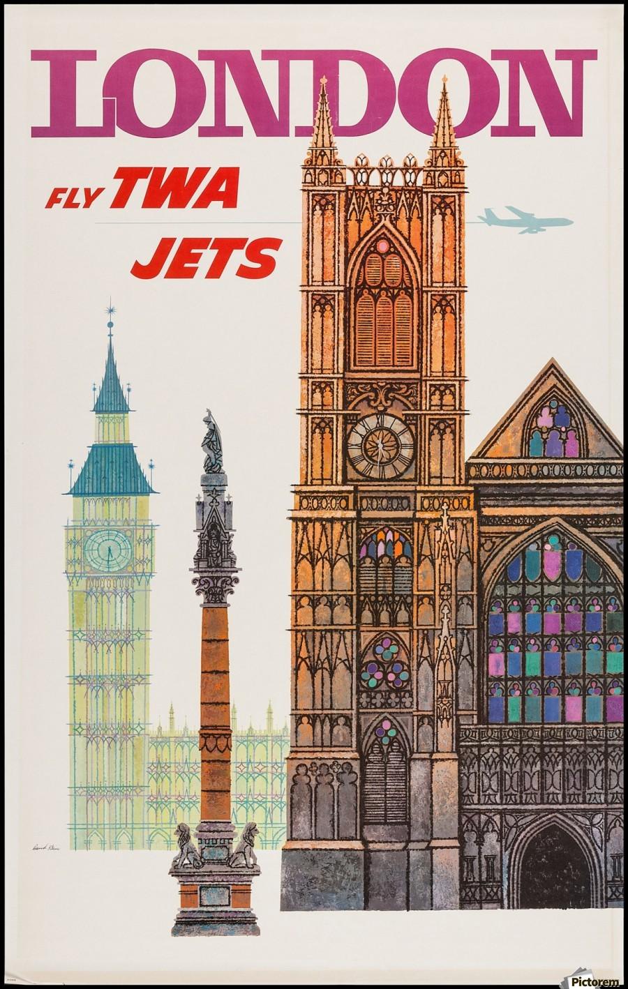 twa london vintage travel poster vintage poster print