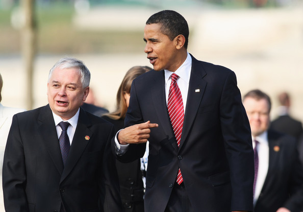 U.S. President Barack Obama and Polish President Lech Kaczynski arrive for a military ceremony during the NATO summit at the Passerelle des Deux-Rives on April 4, 2009 in Kehl, Germany. Protestors try to blockade the streets towards the congress centerin Strasbourg, where the NATO's 60th anniversary summit takes place.  (Photo by Ralph Orlowski/Getty Images) *** Local Caption *** Barack Obama;Lech Kaczynski