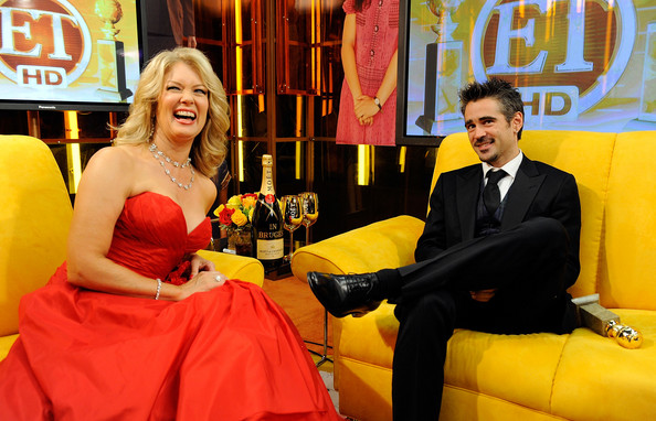 "Colin Farrell ET host Mary Hart and actor Colin Farrell, winner Best Performance by an Actor in a Motion Picture - Musical Or Comedy for ""In Bruges,"" backstage with Entertainment Tonight at the 66th Annual Golden Globe Awards held at the Beverly Hilton Hotel on January 11, 2009 in Beverly Hills, California.  (Photo by Kevork Djansezian/Getty Images) *** Local Caption *** Mary Hart;Colin Farrell"