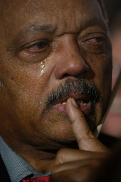 Rev. Jesse Jackson reacts after projections show that Sen. Barack Obama (D-IL) will be elected to serve as the next President of the United States of America during an election night gathering in Grant Park on November 4, 2008 in Chicago, Illinois. Obama defeated Republican nominee Sen. John McCain (R-AZ) by a wide margin in the election to become the first African-American U.S. President elect.