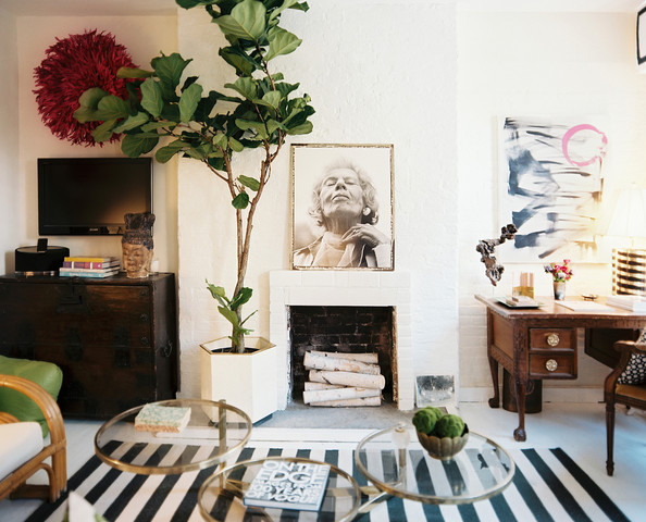 Bohemian Living Room - A black-and-white striped rug in sitting area