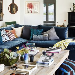 Blue Velvet Sofa Living Room Ideas Black And White Leather Reclining Throw Pillows Photos 91 Of 192
