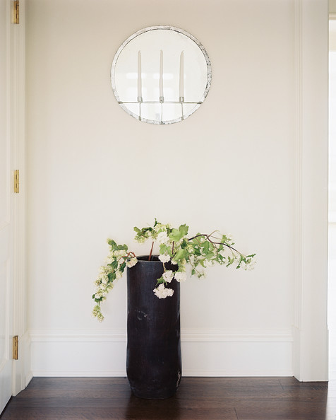 Indoor Plant Decor Entryway Hall with Indoor Decor Plants in Tall Black Flower Vase