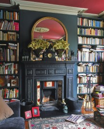 Fireplace with Bookshelves On Sides