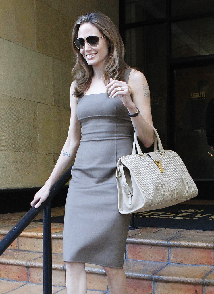 Angelina Jolie Leather Tote  Angelina Jolie Looks  StyleBistro