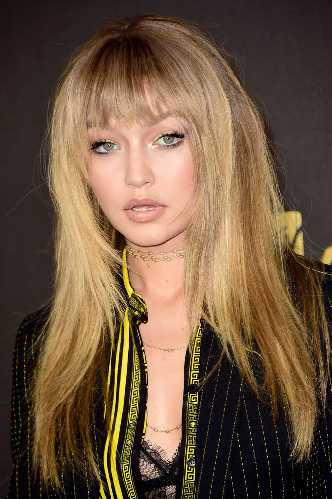 Gigi Hadid Long Straight Cut With Bangs Long Straight