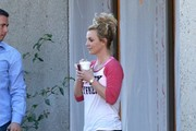 Pop star Britney Spears leaves a dance studio after a morning rehearsal on January 13, 2015 in Thousand Oaks, California. Britney's younger sister Jamie was recently caught on tape brandishing a seven inch knife to break up a fight at a Pita Pit restaurant.