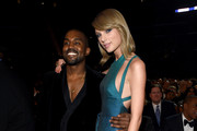 Recording Artists Kanye West and Taylor Swift attend The 57th Annual GRAMMY Awards at the STAPLES Center on February 8, 2015 in Los Angeles, California.