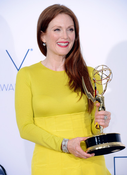 "Actress Julianne Moore, winner Outstanding Lead Actress in a Miniseries or a Movie for ""Game Change,"" poses in the press room during the 64th Annual Primetime Emmy Awards at Nokia Theatre L.A. Live on September 23, 2012 in Los Angeles, California."