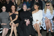 (L-R) Coco Rocha, Juliette Lewis, Kelly Osbourne, Zendaya, and Kesha attend the Christian Siriano Fashion Show at ArtBeam on February 14, 2015 in New York City.