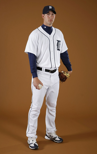 Rick Porcello #48 of the Detroit Tigers poses during photo day at the Detroit Tigers Spring Training facility on February 27, 2010 in Lakeland, Florida.