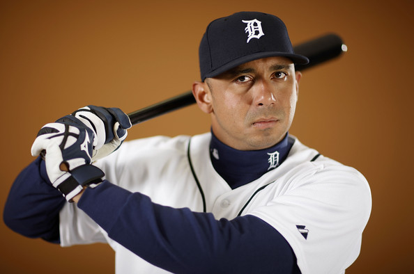 Carlos Guillen #9 of the Detroit Tigers poses during photo day at the Detroit Tigers Spring Training facility on February 27, 2010 in Lakeland, Florida.