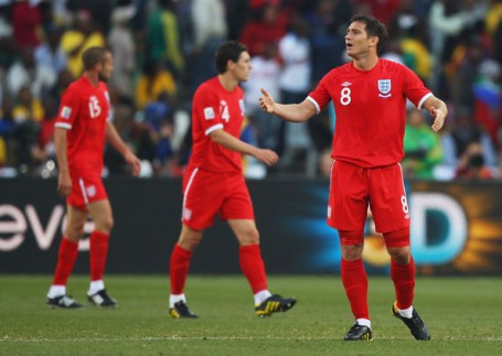 Frank Lampard of England appeals after his goal is disallowed during the 2010 FIFA World Cup South Africa Round of Sixteen match between Germany and England at Free State Stadium on June 27, 2010 in Bloemfontein, South Africa.