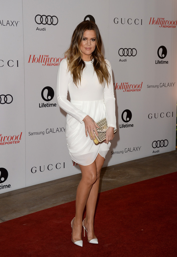 khloe kardashian in white dress