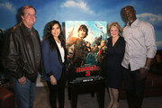 "(L-R) Deadline's Pete Hammond, actress America Ferrera, producer Bonnie Arnold and actor Djimon Hounsou attend a screening of ""How To Train Your Dragon 2"" Special Screening And Q&A  at Harmony Gold Theatre on January 26, 2015 in Los Angeles, California."