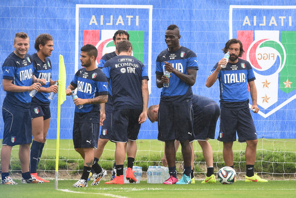 Mario Balotelli of Italy (C) during a training session on June 10, 2014 in Rio de Janeiro, Brazil.