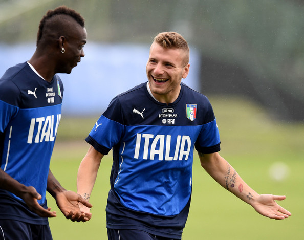 Mario Balotelli and Ciro Immobile (R) of Italy during a training session on June 10, 2014 in Rio de Janeiro, Brazil.