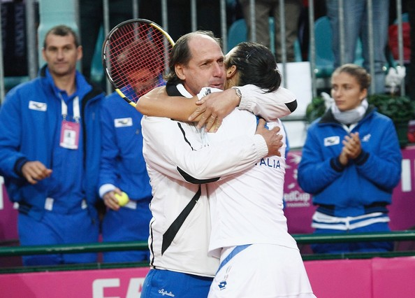 Corrado Barattuzzi Francesca Schiavone (R) of Italy celebrates her victory over Melanie Oudin of USA with team captain Corrado Barattuzzi during the Federation Cup World Group Final between Italy and the USA at Circolo Tennis Rocco Polimeni on November 7, 2009 in Reggio Calabria, Italy.