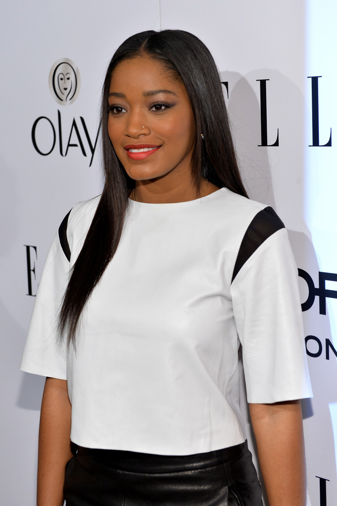 keke palmer in leather mini skirt 2014