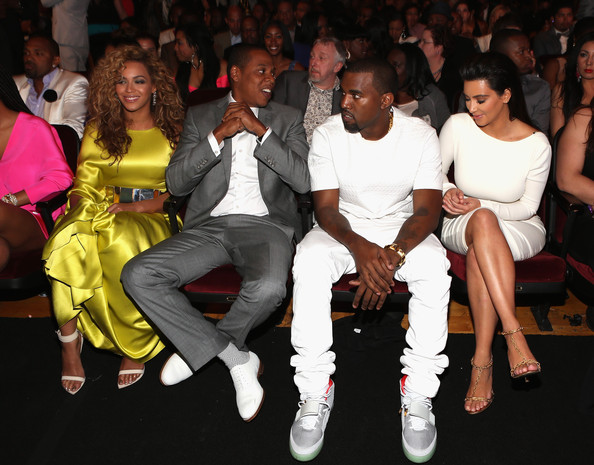 Kim Kardashian (L-R) Singer Beyonce, rappers Jay-Z and Kanye West and television personality Kim Kardashian attend the 2012 BET Awards at The Shrine Auditorium on July 1, 2012 in Los Angeles, California.