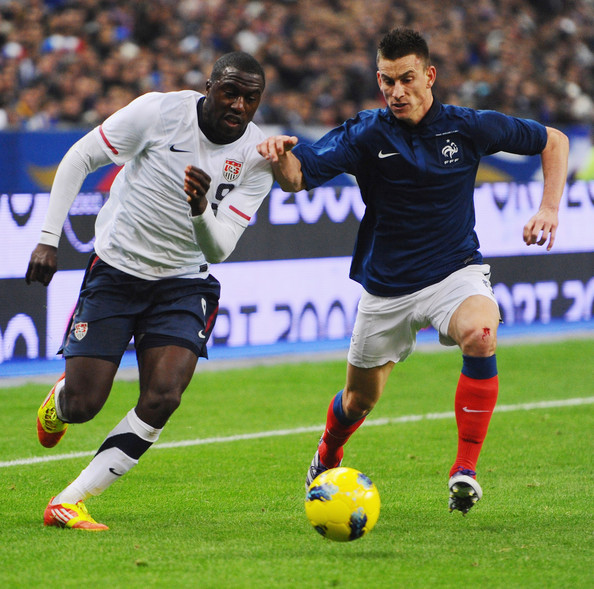 Laurent Koscielny Jozy Altidore of USA is challenged by Laurent Koscielny of France during the International Friendly between France and USA at Stade de France on November 11, 2011 in Paris, France.