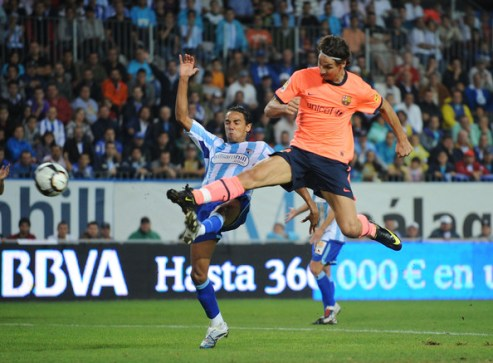 Zlatan Ibrahimovic of Barcelona scores his team's opening goal during the La Liga match between Malaga and Barcelona at La Rosaleda Stadium on September 26, 2009 in Malaga, Spain.