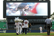 Actress Megan Fox and his husband Bryan Austin Green arrive for throw out the first pitch at the LG Twins vs. Doosan Bears as a part of promotion for South Korea premiere of 'Teenage Mutant Ninja Turtles' on August 27, 2014 in Seoul, South Korea.