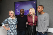 (EXCLUSIVE COVERAGE)  KISS Presenters Charlie Hedges, Melvin O'Doom and Rickie Haywood-Williams pose with Meghan Trainor as she visits the Kiss FM Studio's on January 23, 2015 in London, England.
