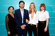(L-R) Moroccanoil Co-founder Carmen Tal, VP of Marketing at Moroccanoil David Krzypow, Rosie Huntington-Whiteley and Bryce Dallas Howard attend Moroccanoil Inspired by Women campaign launch event at the IAC Building on September 17, 2014 in New York City.