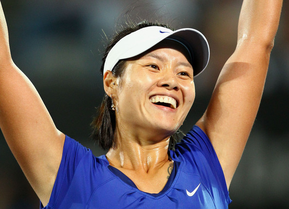 Na Li Na Li of China celebrates winning the womens final against Kim Clijsters of Belgium during day six of the 2011 Medibank International at Sydney Olympic Park Tennis Centre on January 14, 2011 in Sydney, Australia.