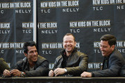 (L-R) Danny Wood, Donnie Wahlberg, and Jonathan Knight attend the New Kids On The Block Press Conference at Madison Square Garden on January 20, 2015 in New York City.