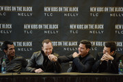 (L-R) Danny Wood, Donnie Wahlberg, Jonathan Knight and Jordan Knight attend the New Kids On The Block Press Conference at Madison Square Garden on January 20, 2015 in New York City.