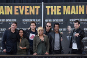(L-R) Jonathan Knight, Chilli, Joey McIntyre, T-Boz, Donnie Wahlberg, Danny Wood and Jordan Knight attend New Kids On The Block Press Conference at Madison Square Garden on January 20, 2015 in New York City.