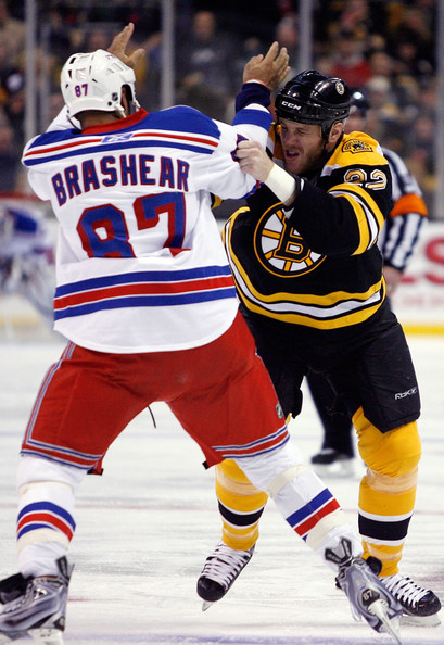 Donald Brashear Donald Brashear #87 of the New York Rangers and Shawn Thornton #22 of the Boston Bruins fight in the first period on January 9, 2010 at the TD Garden in Boston, Massachusetts.