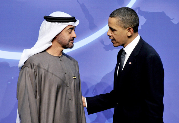 Sheikh Mohamed bin Zayed Al Nahyan (AFP OUT) United States President Barack Obama welcomes Sheikh Mohamed bin Zayed Al Nahyan, Crown Prince of Abu Dhabi and Deputy Supreme Commander of the United Arab Emirates (UAE) Armed Forces to the Washington Convention Center April 12, 2010 in Washington, DC. President Obama was to hold bilateral meetings today with five leaders of the 47 nations gathering for the two-day Nuclear Security Summit.