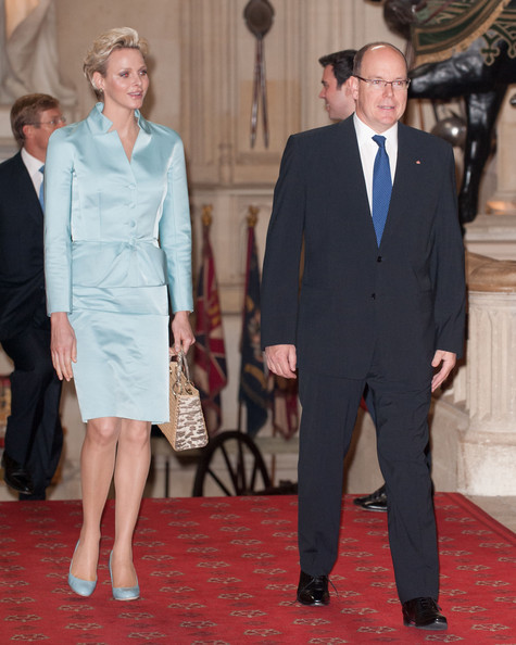 Princess Charlene of Monaco as Prince Albert II of Monaco arrive at a lunch for Sovereign Monarch's held in honour of Queen Elizabeth II's Diamond Jubilee, at Windsor Castle, on May 18, 2012 in Windsor, England.