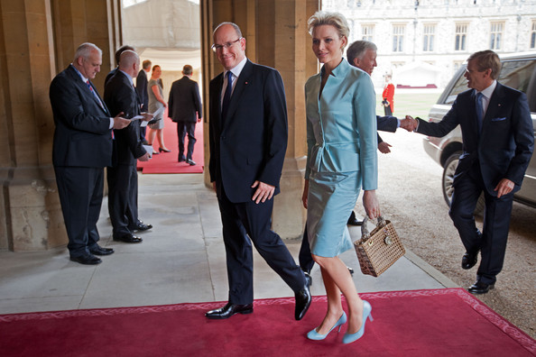 Prince Albert II of Monaco and Princess Charlene of Monaco arrive at a lunch For Sovereign Monarchs in honour of Queen Elizabeth II's Diamond Jubilee, at Windsor Castle, on May 18, 2012 in Windsor, England.