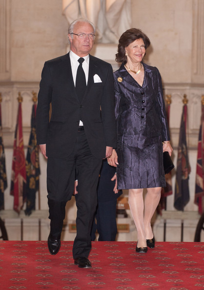 Queen Slivia of Sweden and King Carl XVI Gustaf of Sweden arrrive at a lunch For Sovereign Monarchs in honour of Queen Elizabeth II's Diamond Jubilee, at Windsor Castle, on May 18, 2012 in Windsor, England.