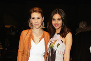 Zosia Mamet (L) and Victoria Justice attend the Rebecca Minkoff fashion show during Mercedes-Benz Fashion Week Fall 2015 at The Pavilion at Lincoln Center on February 13, 2015 in New York City.