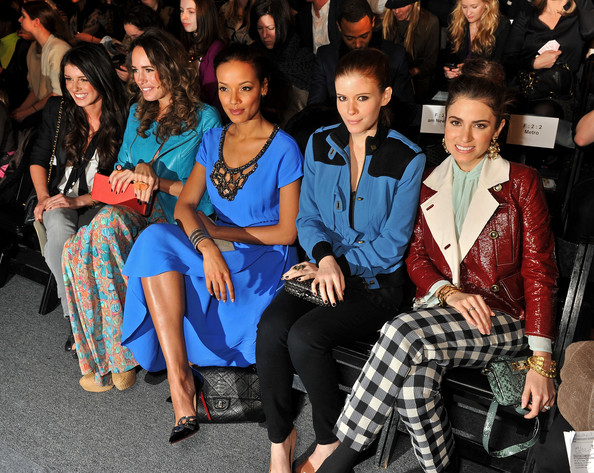 Shenae Grimes (L-R) Actress Shenae Grimes, Louise Roe, model Selita Ebanks, actress Kate Mara and actress Nikki Reed attend the Tracy Reese Fall 2012 fashion show during Mercedes-Benz Fashion Week at The Studio at Lincoln Center on February 12, 2012 in New York City.