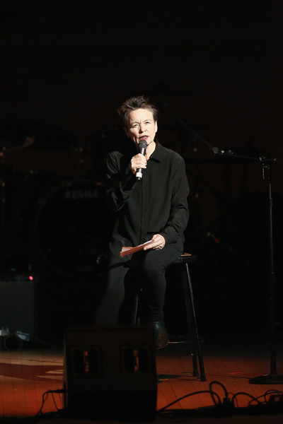 Musician Laurie Anderson performs on stage at Tibet House Benefit Concert 2015 at Carnegie Hall on March 5, 2015 in New York City.