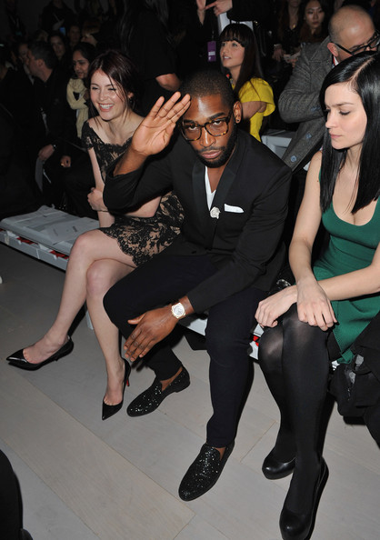 Tinie Tempah Gemma Arterton and Tinie Tempah attend the Issa show during London Fashion Week Autumn/Winter 2012 at Somerset House on February 18, 2012 in London, England.