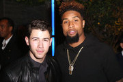 (L-R) Singer/Songwriter Nick Jonas and athlete Odell Beckham Jr. attend Z Zegna & GQ Celebrate The New Z Zegna Collection Hosted By Nick Jonas at Philymack Studios on February 5, 2015 in West Hollywood, California.
