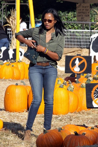Actress and star of 'The Jamie Foxx Show' Garcelle Beauvais seen hunting for the perfect Halloween pumpkin at the Mr Bones Pumpkin patch in Hollywood.